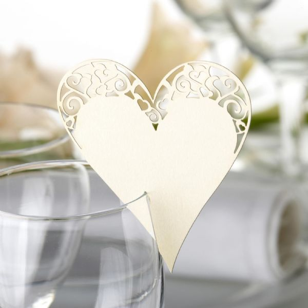 Ivory Laser Cut Heart Place Cards For On Glasses (10)